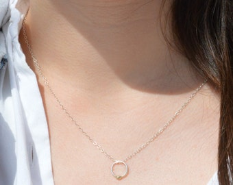 Silver and Solid 14k Gold Dew Drop Necklace, Silver Circle Necklace, Dew Drop Necklace, Minimal Necklace, Dainty Necklace, Bohemian Necklace