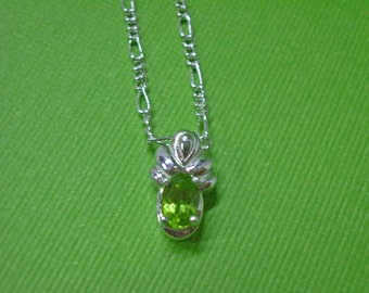 Peridot Necklace - Natural Peridot and Sterling Silver Necklace - August Birthstone Necklace