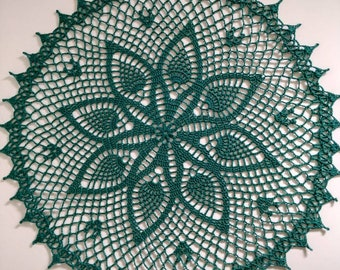 "New Handmade Crocheted ""Hospitality"" Doily in Forest Green - 15"""