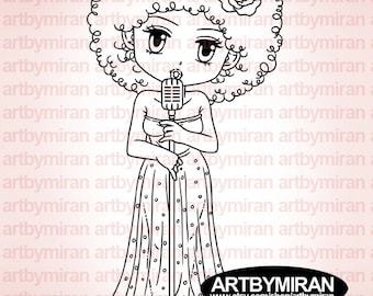 Digital Stamp - Bobby Beats(#232), Digi Stamp, Coloring page, Printable Line art for Card and Craft Supply