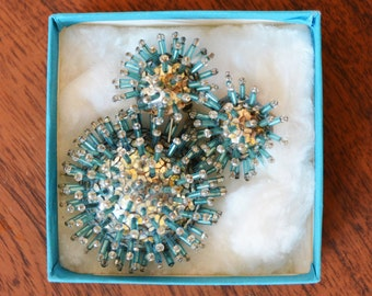 Mid Century Brooch and Earrings Set, Turquoise Starburst design, Atomic style, Hand-made pins and sequins