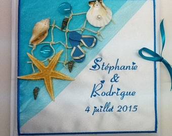 Personalized and embroidered with the names of the sea theme wedding guestbook