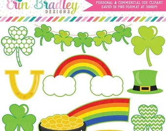 80% OFF SALE St. Patricks Day Clipart, Shamrock Clip Art, Commercial Use Holiday Clipart, Pot of Gold & Rainbow Clip Art