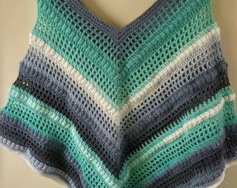 Lovely crochet poncho with Mandela yarn size small/medium