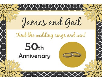 24 - Personalized 50th Anniversary Scratch Off Game Cards  -  Love Blossoms - Can Be Customized for any anniversary year