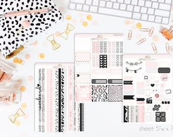 Rosé HORIZONTAL Weekly Kit // 130+ Matte Planner Stickers // Perfect for your Erin Condren Life Planner // WKH0140