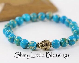 Buddha Bracelet, Turquoise Natural Stone Regalite Bead Bracelet, Meditation Jewelry, Spiritual Jewelry, Positive Energy Jewelry