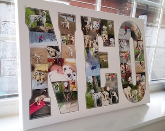 Name Word Photo Collage 2 - 10 letters - Canvas Print - Premium Hand Made in UK