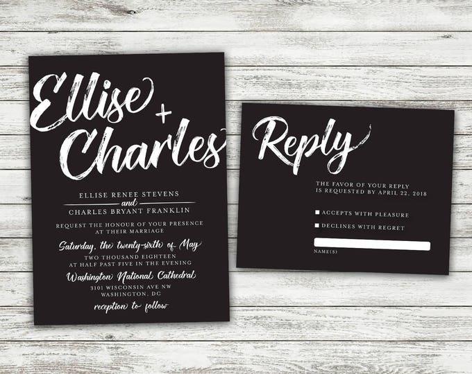 Black Wedding Invitations Set, Vintage Wedding Invitations, Rustic Wedding Invitation, Vintage, Black and White, Country, Modern