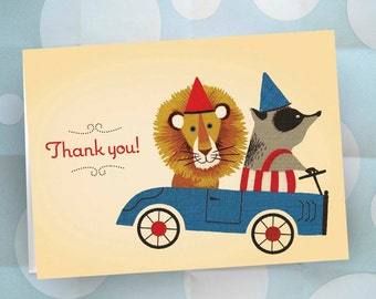 Thank You Notes / Set of 12 / Lion and Badger in GO CART / Children's Stationery Note Cards / Party Supplies / Ready to Ship