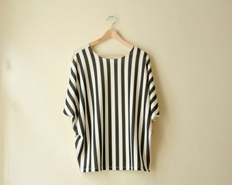 Striped Blouse Oversized Nautical Top with Draped Sleeves, Black and White Summer Top,