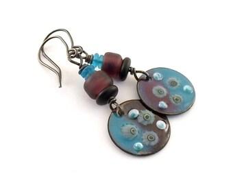 Handmade Earrings, Enameled Earrings, Dark Purple Earrings, Flower Earrings, Artisan Earrings, Boho Earrings, OOAK Earrings, Purple, AE060