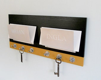 PERSONALIZED MAIL ORGANIZER: Wall Mount Couples Mail Holder Modern Two Tone with Key Hooks, Creative Clutter Solutions Wedding Gift