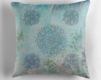Mandala Pillow, Aqua Throw Pillow, Mandala Throw Pillow, Pastel Throw Pillow, Mandala Decor, Aqua Decor, Forgetmenots Pillow