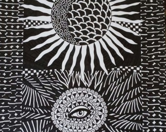 Pen and Ink Drawing Sun and Eye