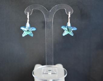 Silver earrings 925 and Aquamarine starfish ab