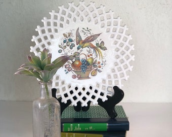 Vintage Decorative Plate-White with Bird