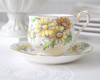 Vintage English Bone China  Tea Cup and Saucer by Royal Albert Flower of the Month Series  Daisy Pattern, Tea Party - 1950's - 1960's