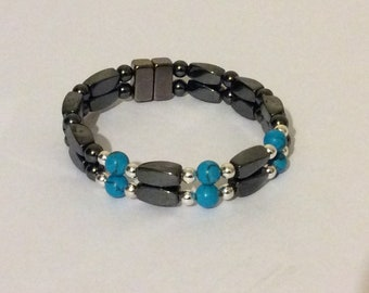 HIGH POWER Magnetic Therapy 2 Strand Bracelet with Chinese Turquoise Gemstone