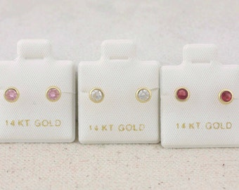 14K Yellow Gold Bezel, Stud 4mm, CZ Screw Back Earring, 14k Cz Baby Earrings,  14k Bezel 4mm Cz Stud Earrings, White, Pink and Red