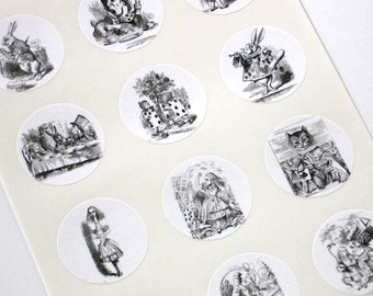 Alice in Wonderland Stickers One Inch Round Seals