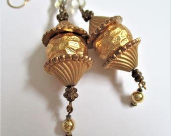 Bohemian Dangle Earrings Vintage Pierced Earrings Gold Gilded Drop Earrings Boho Style Jewelry Ear Hooks Dangle Drop Earrings Gift for Her