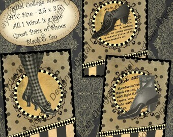 Instant Download Digital Printable Collage Sheet - ATC Size, 2.5 x 3.5  All I Want Is a Few Really Great Pairs of Shoes, Black and Tan