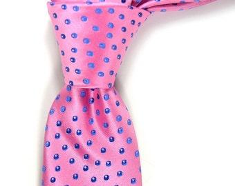 """Bright pink and blue dots Silk Necktie - High Quality Woven pink Silk Necktie 3"""" wide"""