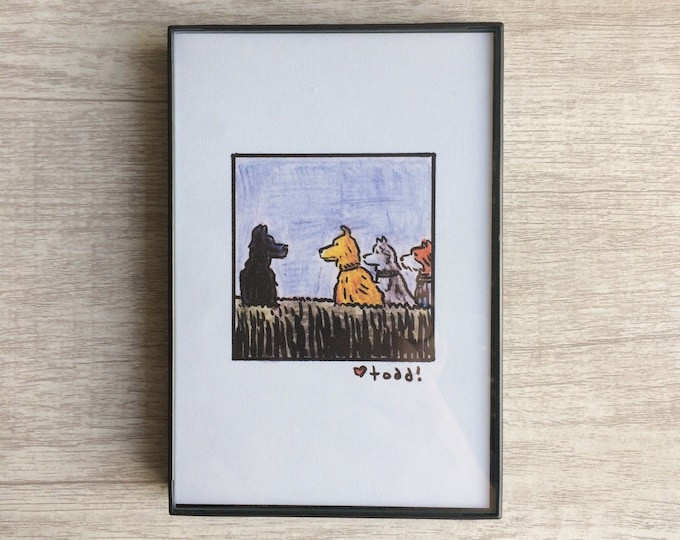 Isle of Dogs - Chief, Rex, Duke, and Boss Print, 4 x 6 inches, Wes Anderson, movies, film geek, framed artwork, wall decor, art
