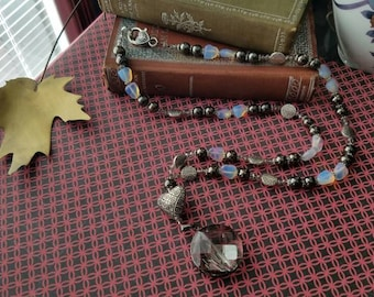 Crystal Pendant Heart Necklace Boho Gypsy Valentines Gift