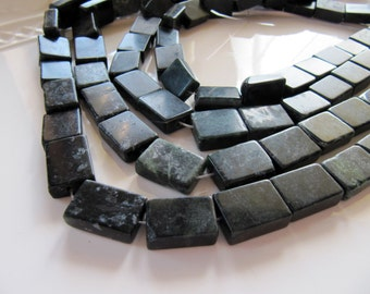 Natural Serpentine Beads in Dark Green and Black, Flat Rectangles, Approx 17mm - 19mm, 1 Strand 15 Inches, 20 Beads, Gemstones