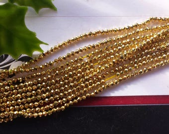 """Gold plated faceted round pyrite 2 mm,13""""strands,Grade AAA,tiny gold beads,jewery supply,small necklace beads,1-2-5-10-20 strands"""