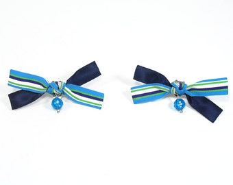 Aqua Blue Striped Bow Shoe Clips, Casual or Dressy for Flip Flops, High Heels, Summer Sandles, Wedding Shoe Clips