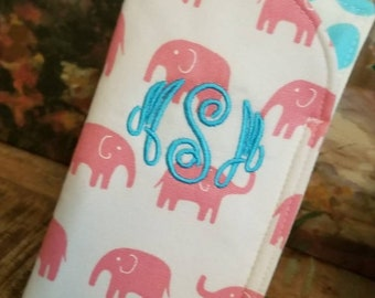 Pink elephant Sunglass Case. Eye Glass Sleeve, Monogrammed Cases for Over sized glasses, Funky Sunglass case, Travel Case, Sunglass sleeves