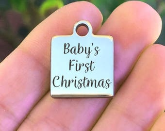 Christmas Stainless Steel Charm - Baby's First Christmas - Laser Engraved - Silver Square - 16mm x 20mm - Quantity Options - F4L458