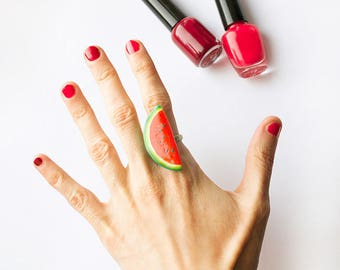 Watermelon Red Ring, handmade funny bright jewelry, red and green, summer pun-up style jewelry, statement cocktail ring