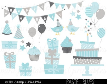 Boy Birthday Clipart, Blue Grey Birthday Digital Clip Art, Bunting Clipart, Birthday Party, Cake - Commercial & Personal - BUY 2 GET 1 FREE!