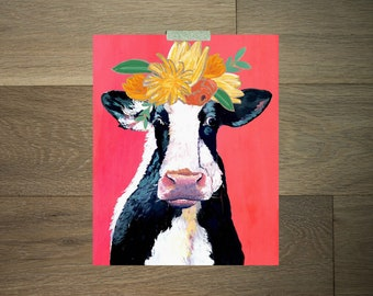 Cow artwork - 8 x 10 - black and white - red - pink - orange and yellow- flower crown - modern farm art