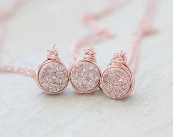 Druzy Pendant Necklace, Gilded Rose Gold Bezel Wrapped Quartz Gemstone , Bridesmaids Jewelry Gifts , Minimalist