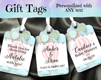 12 Favor Tags, Gift Tag, Pastel Hot Air Balloons, Clouds,Bridal or Baby Shower, Wedding, Engagement Party, Birthday