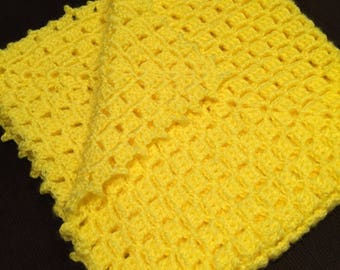 CLEARANCE!!!  Homemade bright Yellow Crocheted baby blanket: baby shower gift, receiving blanket, yellow crochet baby blanket, crochet blank