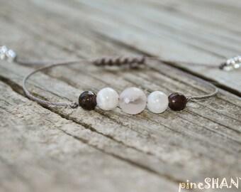 Rose Quartz, Moonstone, Garnet, Meditation Bracelet, Minimalist Jewelry, Hypoallergenic, Yoga Bracelet, Fertility, Pregnancy Wish Bracelet