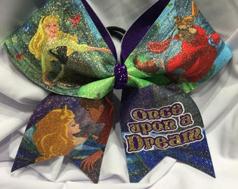 """Once upon a dream - Sleeping Beauty """"TEXAS/CHEER"""" LARGE Size Glitter bow"""