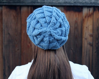 Textured Sky Blue Slouchy Beanie. Womens Winter Hat. Winter Accessories. Knit Hat. Knit Slouch Beanie. Slouchy Winter Hat. Christmas Gift