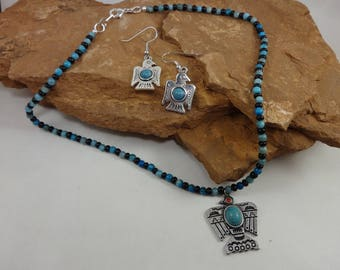 Single Strand Turquoise Eagle Pendant Necklace and Earring Set