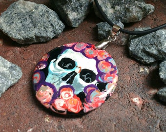 Skull and Roses B  hand painted Pendant Dark Onyx Necklace Day Of The Dead Dia de los Muertos Mexican Art
