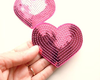 PINK heart iron on patch,  Sequin irom pplique, Iron on patch, Pink heart patch, Pink iron patch, Heart sew on patch, Pink heart