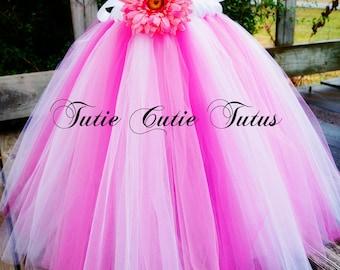 Hot Pink, Baby Pink, and white Flower Girl Tutu Dress with Pink Flower