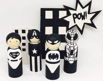 Monochrome Superheroes, Superheroes, Superhero, Superhero figurine, Spiderman, Batman, Superman, Captain America, Iron Man, Pegg dolls, gift
