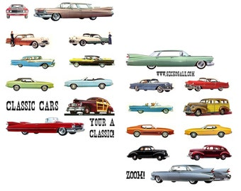 Classic Cars Digital Collage Sheets
